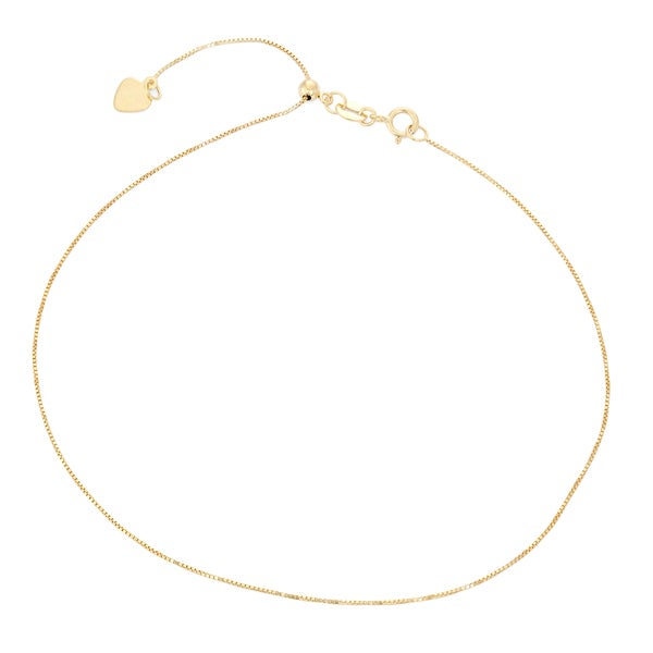 Gioelli 10k Gold Adjustable Box Chain Anklet