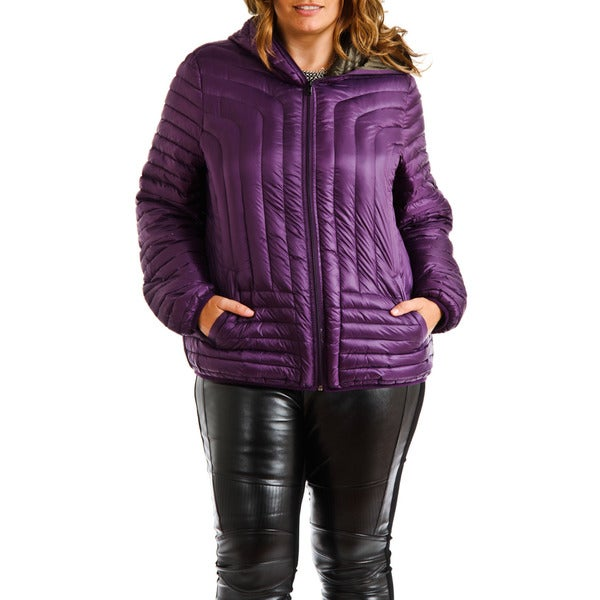 Halifax Purple Hooded Plus Size Down Coat