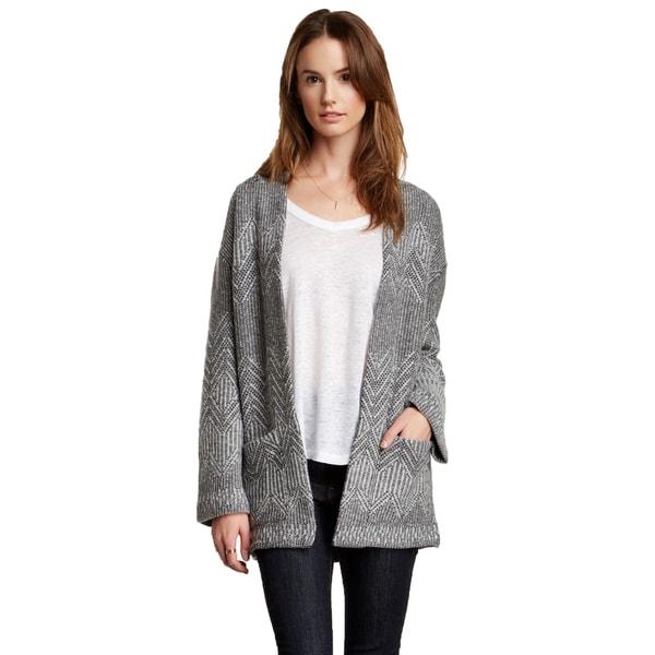 Inhabit Women's Grey Zigzag Wool Blend Open Front Cardigan 16514099