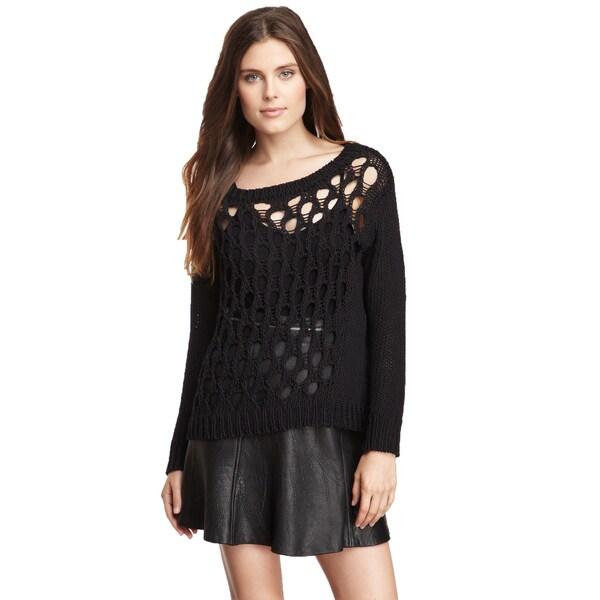 Inhabit Women's Black Cotton Boat Neck Chunky Knit Sweater