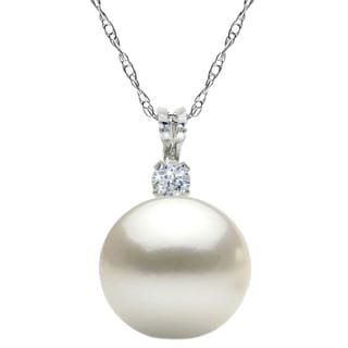 DaVonna Sterling Silver Pearl and Cubic Zirconia Pendant Necklace (7-8mm)