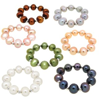 DaVonna Sterling Silver Multi Color Freshwater Pearl Stretch Rings (Set of 7)