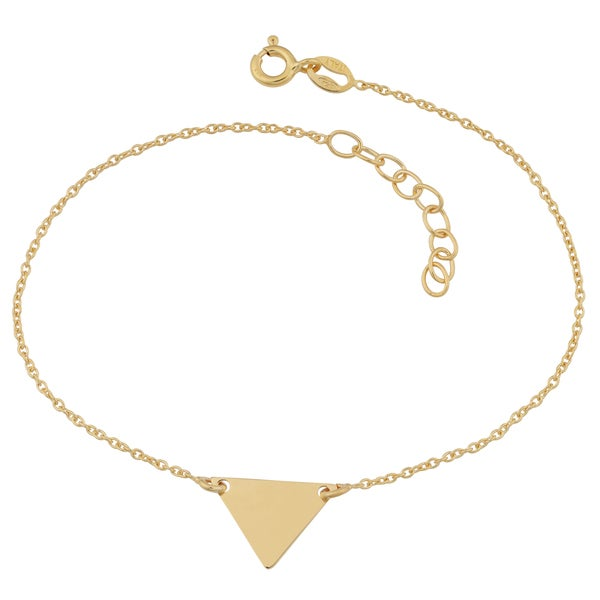 Fremada 18k Yellow Gold Over Sterling Silver Triangle Adjustable Length Bracelet