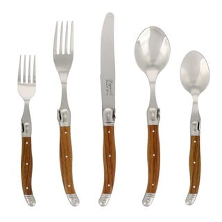 French Home 20-piece Laguiole Wood Grain Flatware Set
