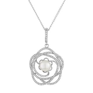 Sterling Silver Freshwater Pearl and Cubic Zirconia Floral Necklace (9-10mm)