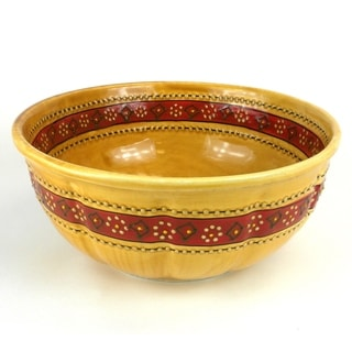 Hand-painted Large Round Bowl in Honey - Encantada Pottery (Mexico)