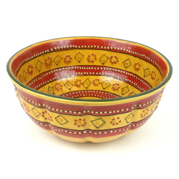 Hand-painted Large Round Bowl in Red - Encantada Pottery (Mexico)
