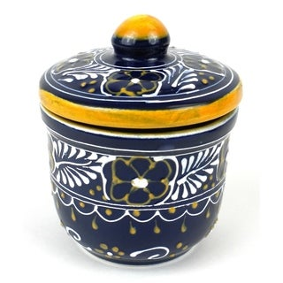 Hand-painted Sugar Bowl in Blue - Encantada Pottery (Mexico)