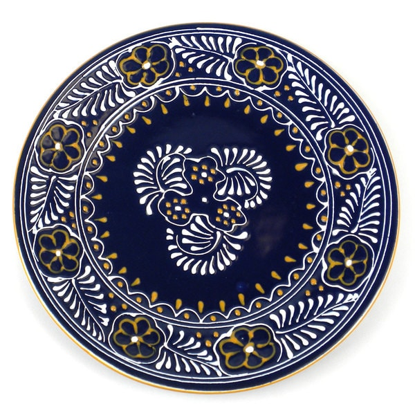 Hand-painted Round Plate in Blue - Encantada Pottery (Mexico)