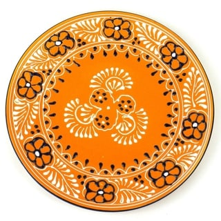 Hand-painted Round Plate in Mango - Encantada Pottery (Mexico)