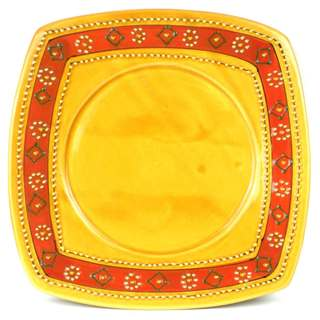 Hand-painted Square Plate in Honey - Encantada Pottery (Mexico)