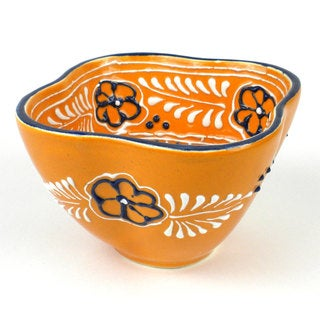 Hand-painted Dip Bowl in Mango - Encantada Pottery (Mexico)
