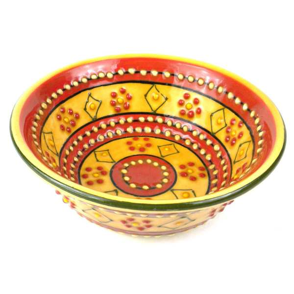 Hand-painted Encantada Pottery Red and Yellow Round Bowl (Mexico) 16514223