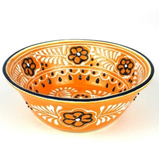 Hand-painted Round Bowl in Mango - Encantada Pottery (Mexico)