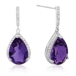 7 Carat Pear Shape Amethyst and Diamond Drop Earrings, 1 Inch
