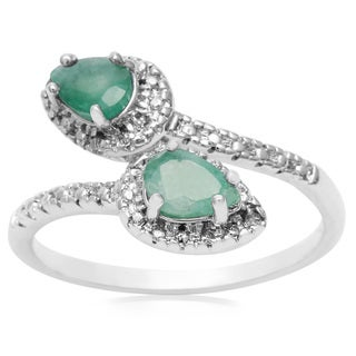 3/4 Carat Pear Shape Emerald and Diamond Wrap Ring