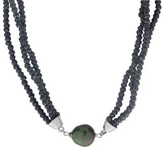Pearls For You Sterling Silver Tahitian Pearl & Black Spinel Necklace (11-12 mm)