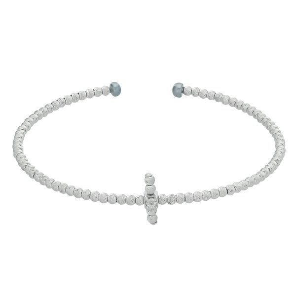 Pearls For You 7-inch Sterling Silver Pearl and Diamond Accent Brilliance Bead Sideways Cross Cuff Bracelet 16514409