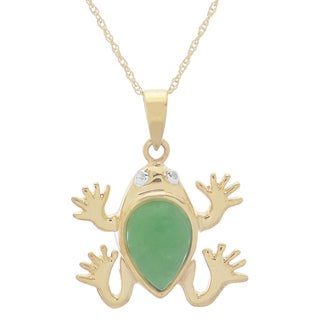 Gems For You 18 Inch 10k Yellow Gold Jade Frog Pendant with Diamond Accent (H-I, I2-I3)