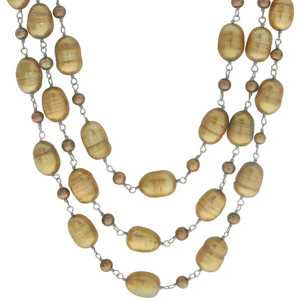 Pearls For You Sterling Silver 18.5-inch Triple Strand Dyed Golden Bronze Freshwater Pearl Necklace (9-9.5 mm, 4-4.5 mm) 16514420