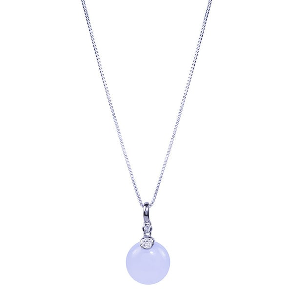 Sterling Silver Roudn Blue Chalcedony Coin 18-inch Pendant Necklace
