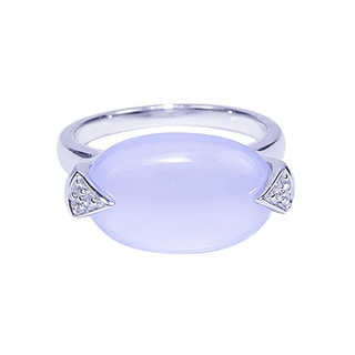 Sterling Silver Oval Blue Chalcedony White Topaz Ring