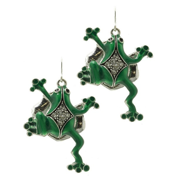 Whimsical Green Enamel Frog Earrings Crystal Stone Fish Hook