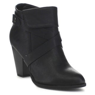 FOREVER FEW4 Women's Stylish Cross Strap Stacked Chunky Heel Ankle Booties