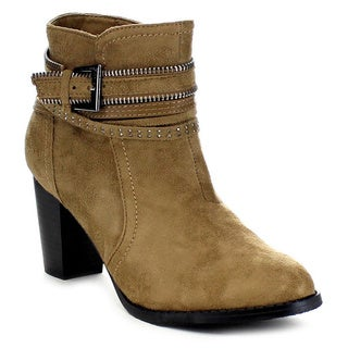 FOREVER FEW5 Women's Stylish Shaft Strap Deco Ankle Booties