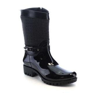 Beston AA69 Women's Glossy Funky Side Zipper Waterproof Mid-Calf Rain Boots