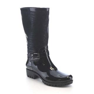 Beston AA70 Women's Crocodile pattern Side Zipper Waterproof Mid-Calf Rain Boots