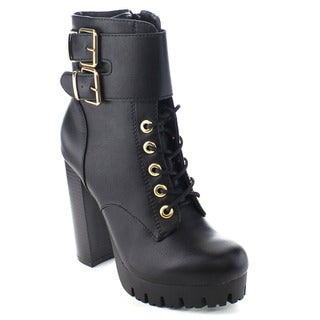 Wild Diva VERONICA-08 Women's Lace Up Platform Chunky Heel Buckle Ankle Booties