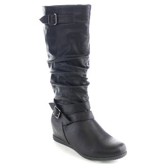 Wild Diva DELTA-01 Women's Hidden Wedge Heel Buckle Knee High Riding Boots