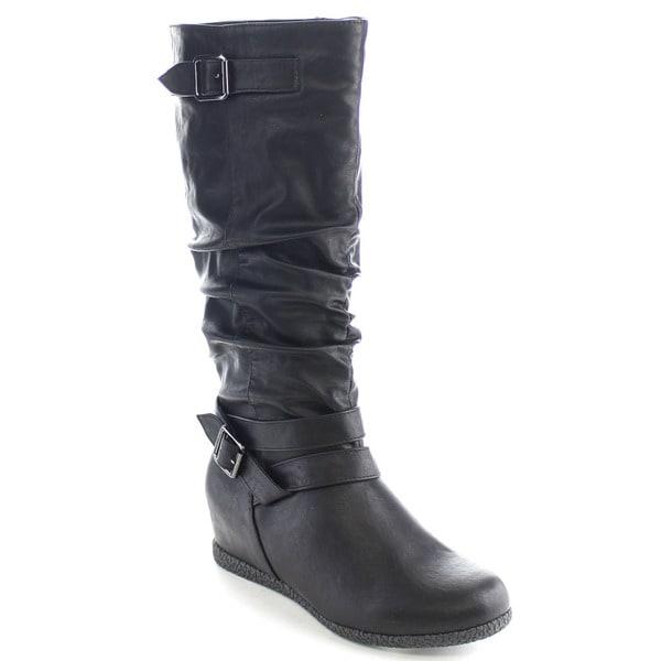 Wild Diva DELTA-01 Women's Hidden Wedge Heel Buckle Knee High Riding Boots