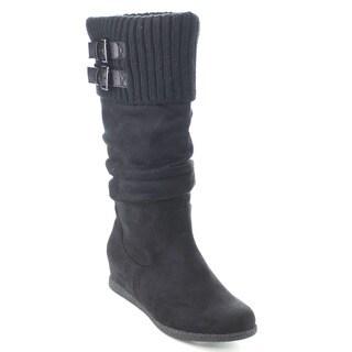 Wild Diva DELTA-04 Women Knit Slouchy Buckle Strap Hidden Wedge Knee High Boots