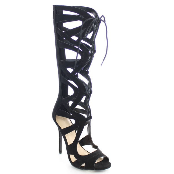 Wild Diva ADELA-208 Women's Lace Up Cut Out Back Zip Stiletto Sandals