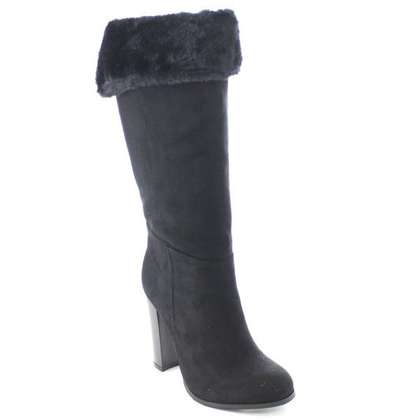 Wild Diva EMILIA-07 Women's Faux Fur Stacked Heel Pull On Mid Calf Boots