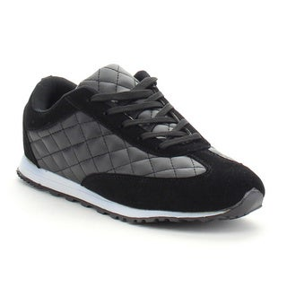 ADRIANA LUNAR-03 Women's Lug Sole Quilted Lace Up Flats Sneaker