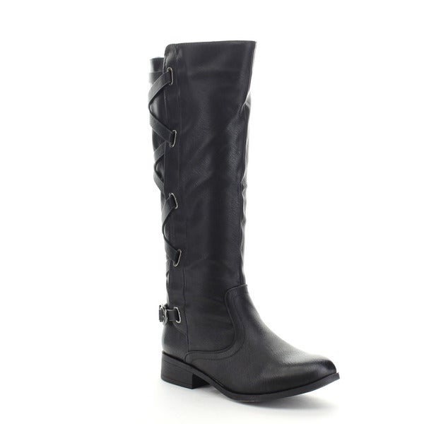 ADRIANA ALICIA-03 Women's Low Heel Buckle Accents Strap Knee High Boots