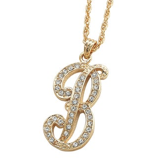 14k Yellow Goldplated Crystal Script Initial Necklace
