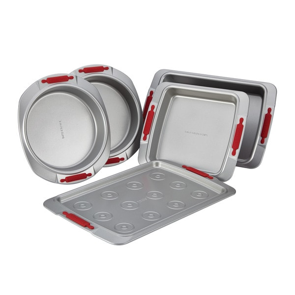 Cake Boss Deluxe Nonstick Bakeware 5-Piece Bakeware Set, Gray with Red Silicone Grips