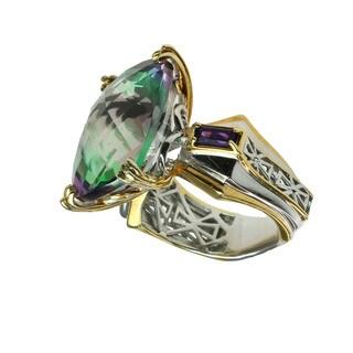 Michael Valitutti Mystic Topaz & African Amethyst Silver Ring