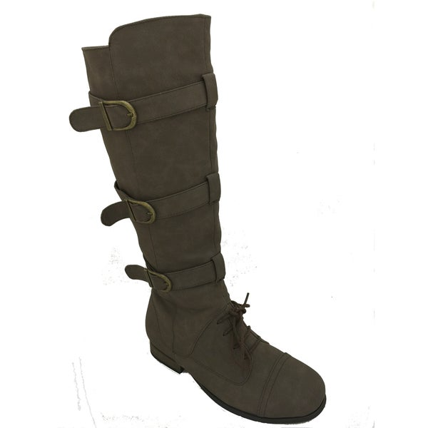 Nichole Simpson Women's Suede Knee-High Buckle Riding Lace-Up Boots