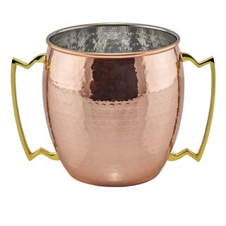 128 Oz./16 cup Hammered Solid Copper 2-handled Jumbo Mug