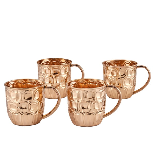 "19 Oz. Solid Copper ""Pineapple"" Moscow Mule Mugs, Set of 4"