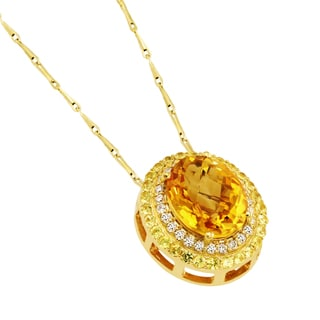 Beverly Hills Charm 14k Yellow Gold Citrine, yellow sapphires and 1/6ct TDW Diamond Necklace (H-I, SI2-I1)