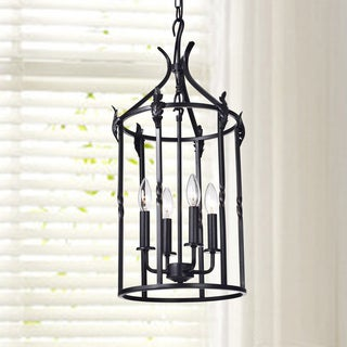 Beatriz 4-light Antique Black Classic Iron Hanging Lantern Chandelier