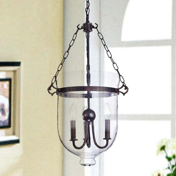 Yamila Antique Copper Glass Lantern Chandelier