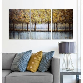 Hand-painted 'Golden Forest' 3-piece Gallery-wrapped Canvas Art Set