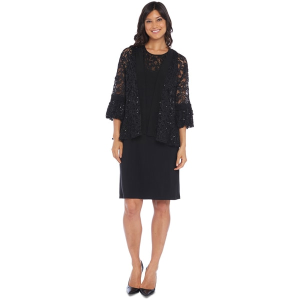 R&M Richards Lace Ruffle Sleeve Jacket Dress
